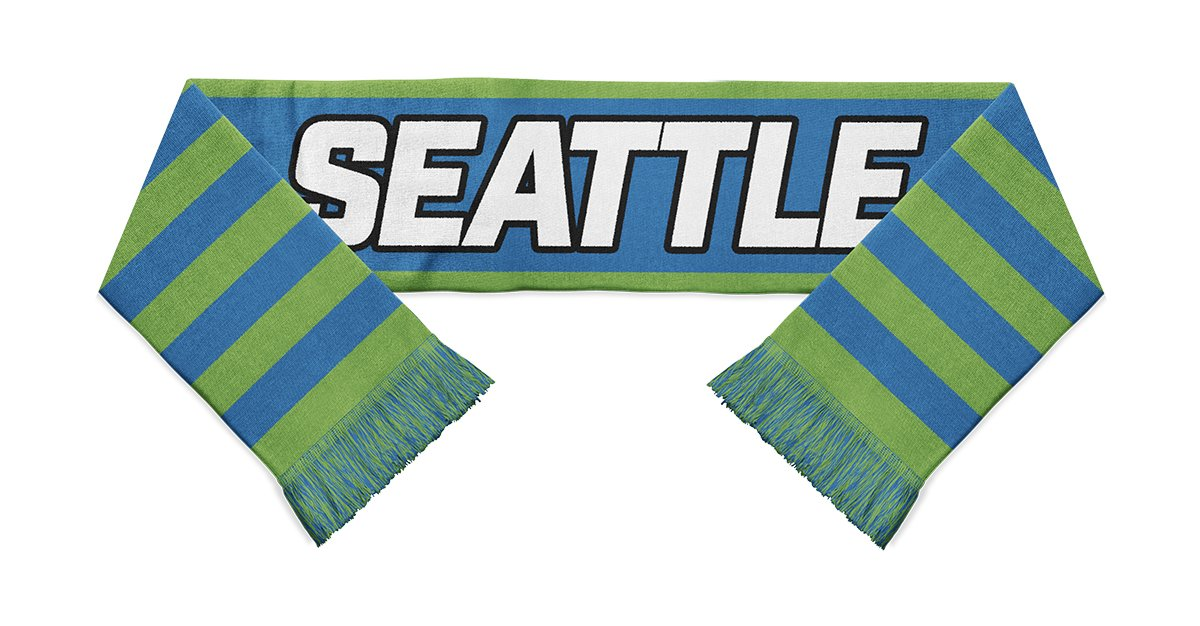 green and blue striped Seattle Sounders soccer scarf designed by Diehard Custom