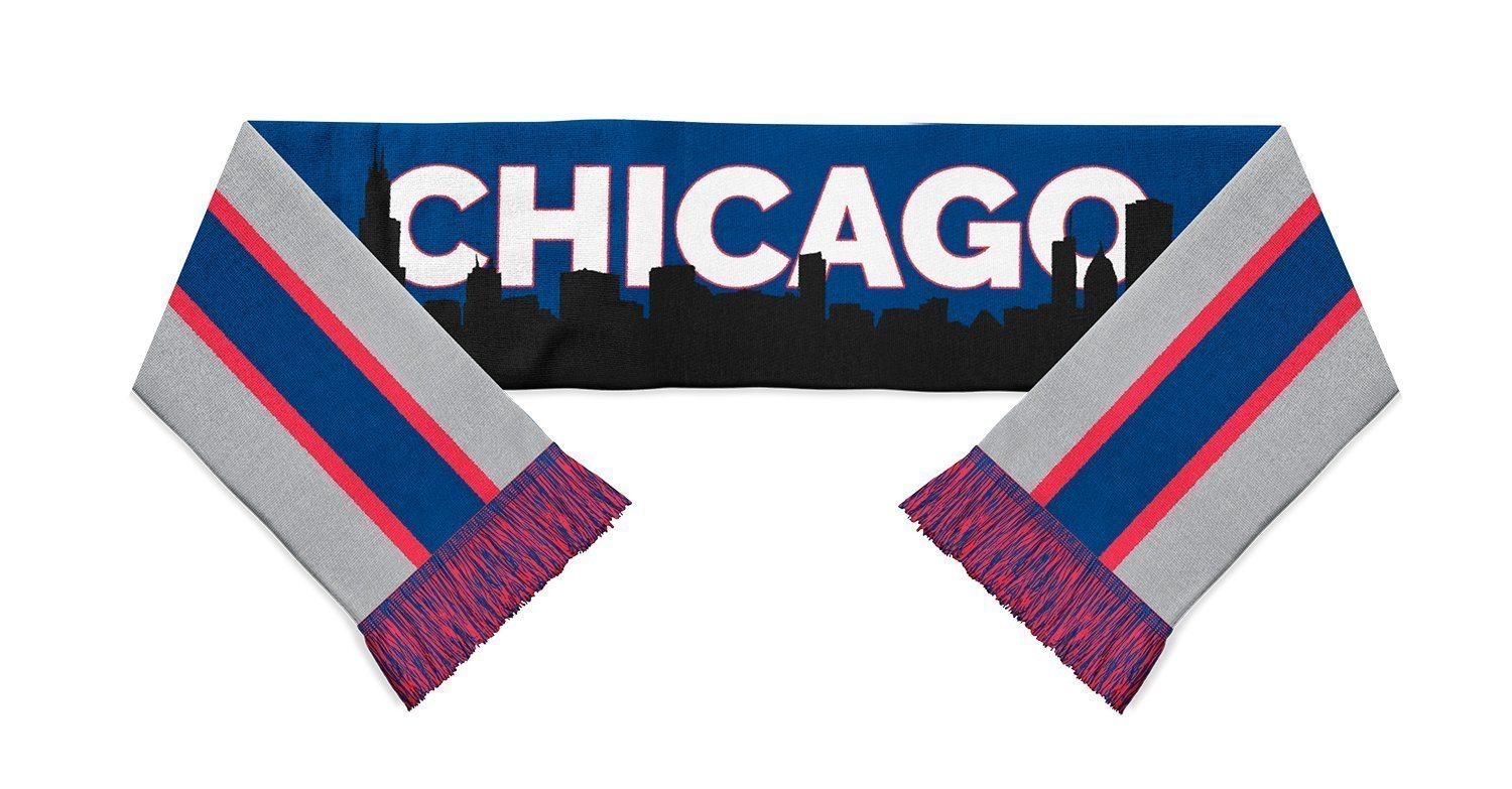blue, grey and red striped scarf with Chicago written in white and a black city skyline overlayed