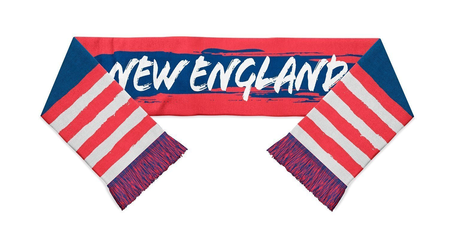 red white and blue stripped scarf with new england written in white in the middle designed by Diehard Custom