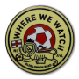 Mustard yellow hard enamel pin with read and white soccer ball in the center and lion holding a flag