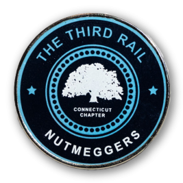 Dark and light blue hard emamel pin with a white tree in the center - The Third Rail soccer club pin