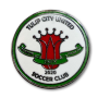 green, white and red Tulip City United Soccer Club hard enamel pin