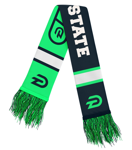 Diehard Custom state green and charcoal university scarf for college athletics
