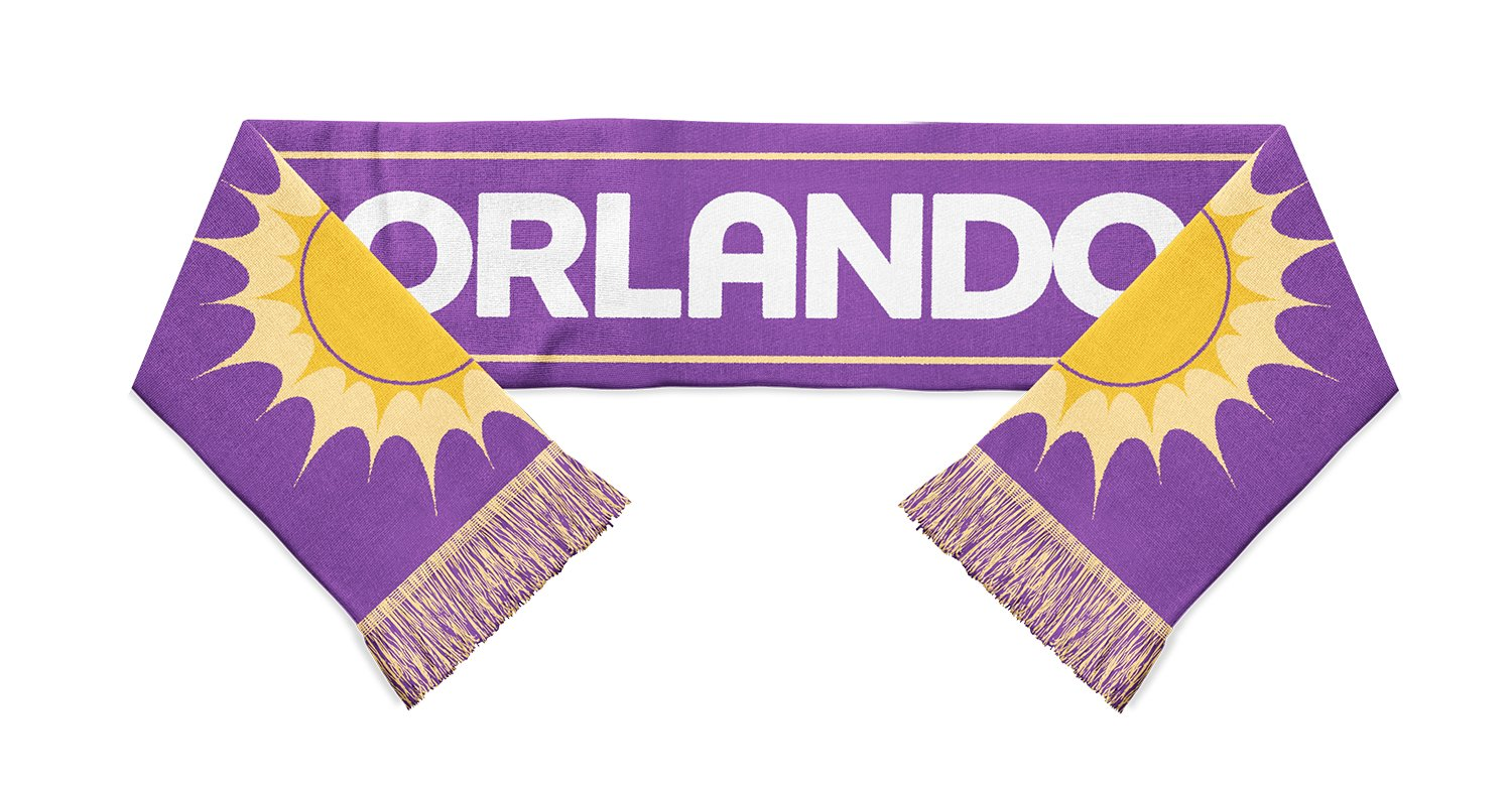 purple and yellow orlando sc scarf with yellow suns on both ends designed by Diehard Custom