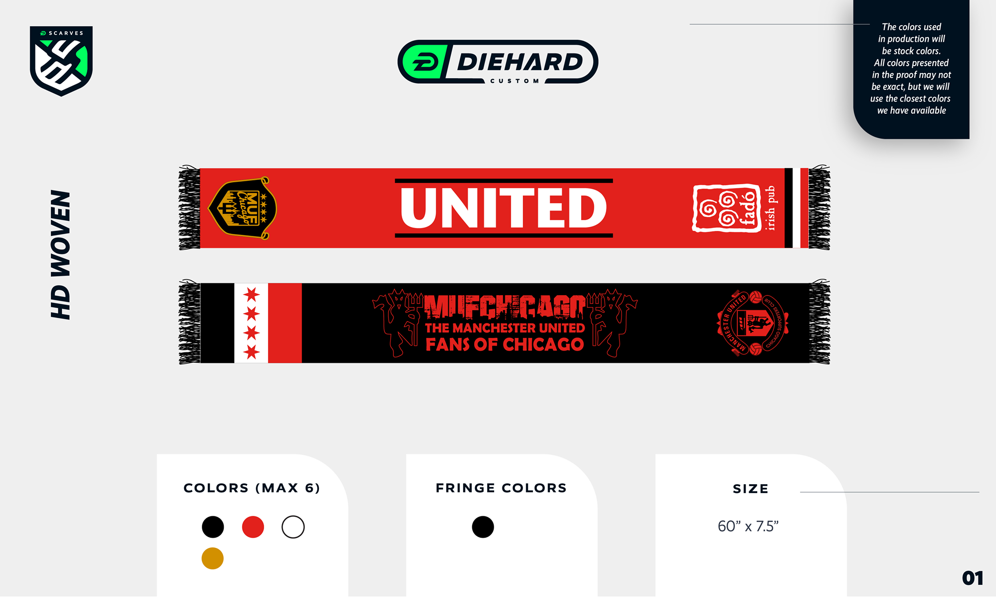 Diehard Scarves customized scarf proof template for MUFChicago