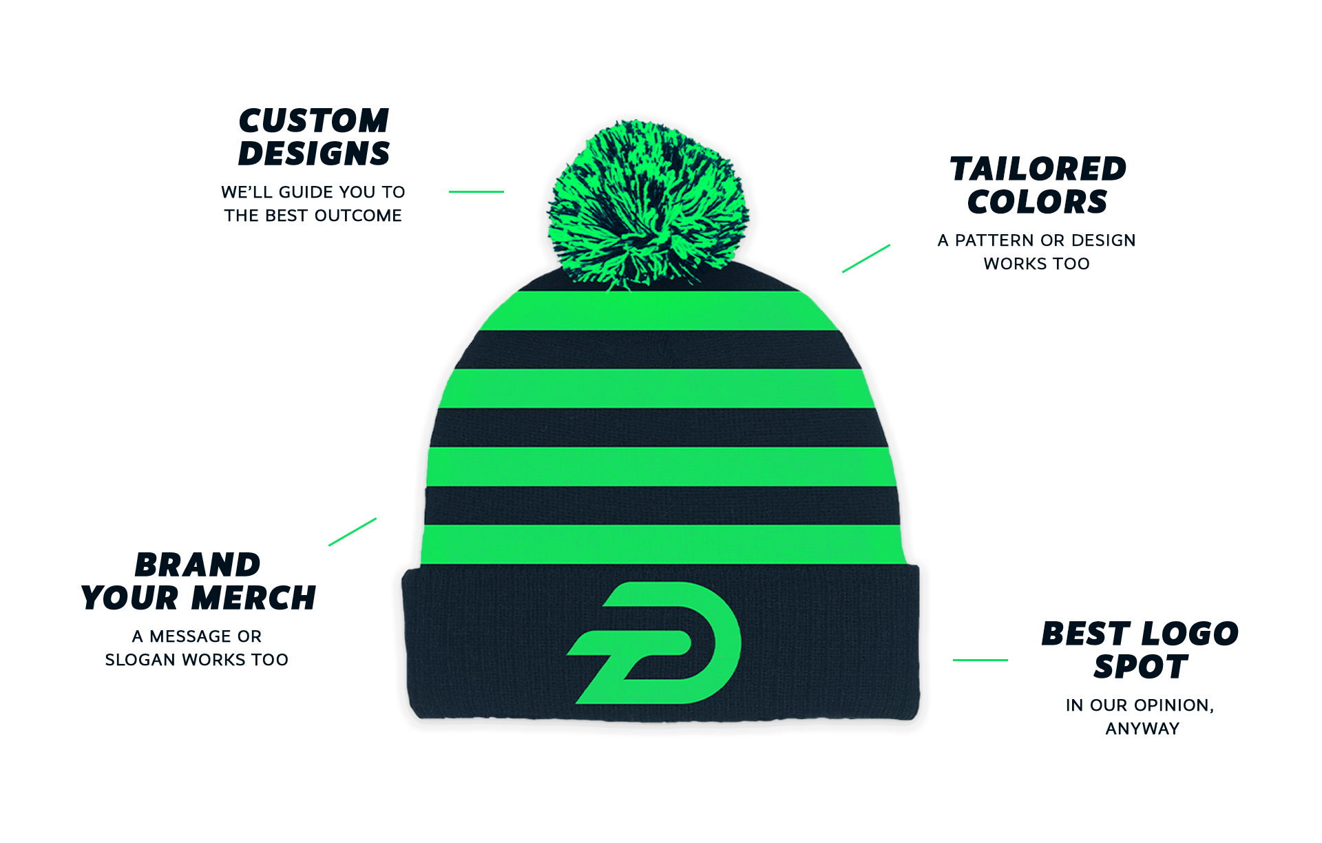A mock up of a sample custom beanie design branded with logo, colors, and messaging