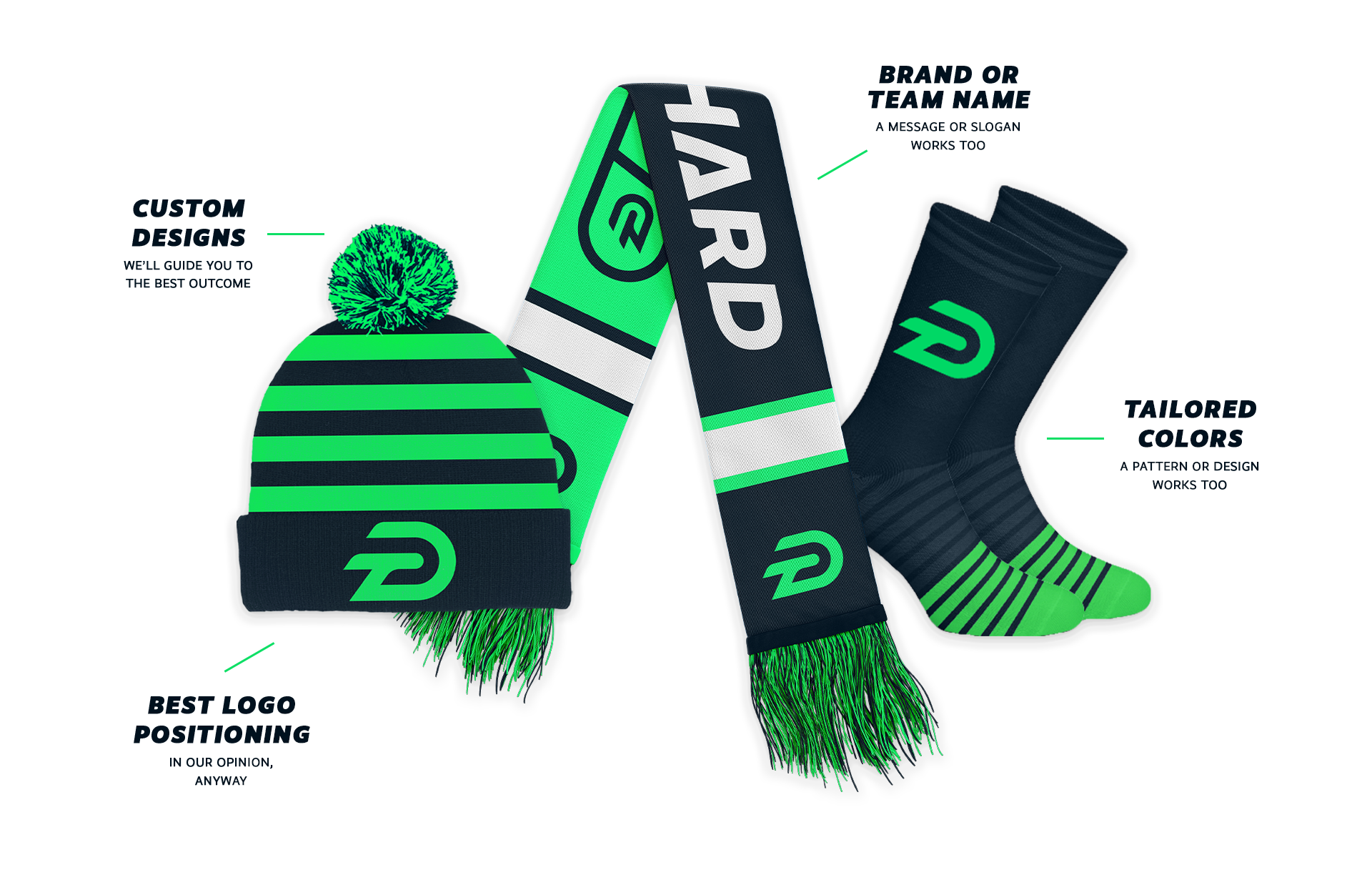 A mock up sample custom beanies, scarves, socks design branded with logo, colors, and messaging