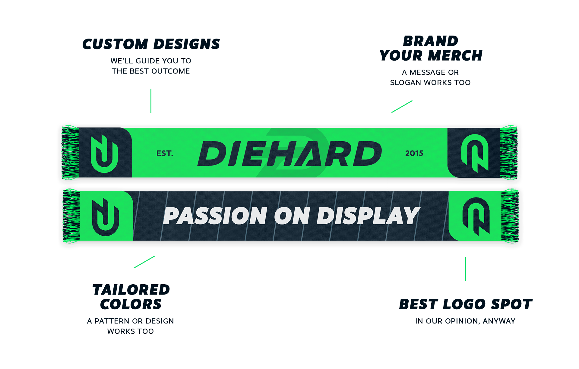 A mock up of a sample custom scarf with branded with logo, colors, and messaging