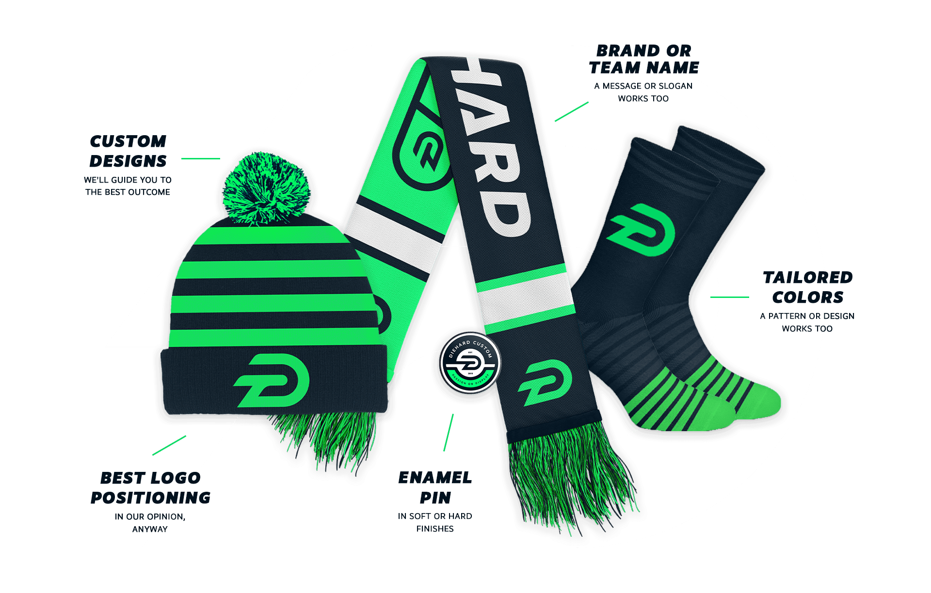 a collage of Diehard Custom products including a green stripped pom beanie, custom scarf, enamel pins and stripped socks