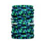 cylindrical blue and green triangle geometric face guard with white Diehard Custom logo