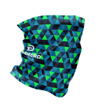 multi-functional face guard side view with blue and green triangle geometric pattern