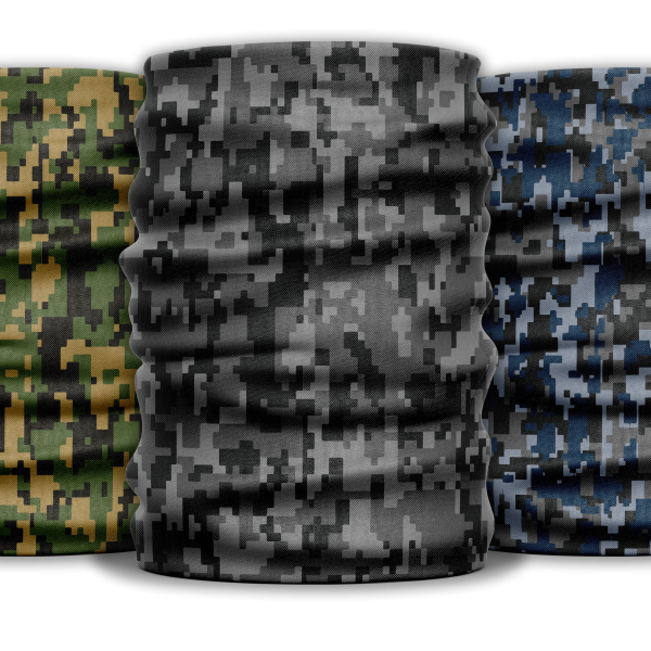 a three pack of camouflage face guards or head gaiter scarves in digital army green, black and grey, and blue and grey