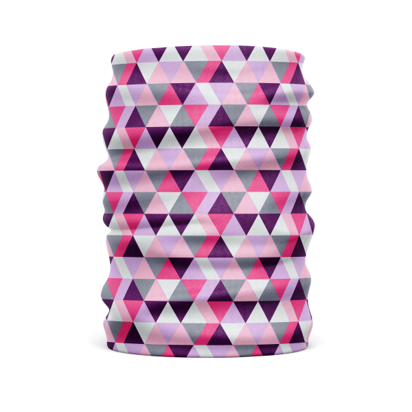 pink and purple geometric cylindrical protective face guard, head wrap, or gaiter scarf