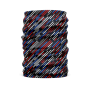 a black protective face guard, head wrap, or gator with red, blue and grey diagonal stripes