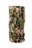 Digital army green, tan, and black camouflage face guard, gaiter scarf, head wrap, or scarf standing up