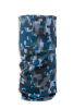 Cylindrical digital blue, light and dark grey camouflage protective face guard, gaiter scarf, or head wrap standing up