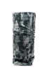 Cylindrical digital black and grey camouflage protective face guard, gaiter scarf, or head wrap standing up