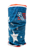 Cylindrical denim blue with white stars protective face guard, gator, scarf, or head wrap with a soccer ball in the top right standing up