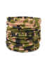 Digital army green, tan, and black camouflage face guard, gaiter scarf, head wrap, or scarf. scrunched up