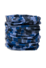 Cylindrical digital blue, light and dark grey camouflage protective face guard, gaiter scarf, or head wrap scrunched up