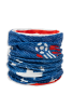 Cylindrical denim blue with white stars protective face guard, gator, scarf, or head wrap with a soccer ball in the top right scrunched up