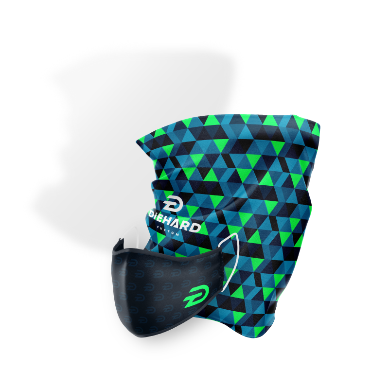 Diehard Custom face mask with the logo printed in light grey and a large green logo on the right next to a, light blue and lime green geometric face protective guard