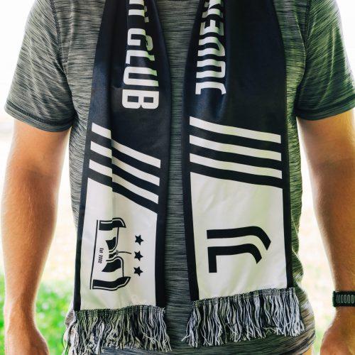 man in grey t-shirt wearing soccer club scarf outside - Diehard Custom scarves