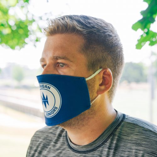 man wearing Michigan Fire Juniors soccer club protective face mask - Diehard Custom Fundraising