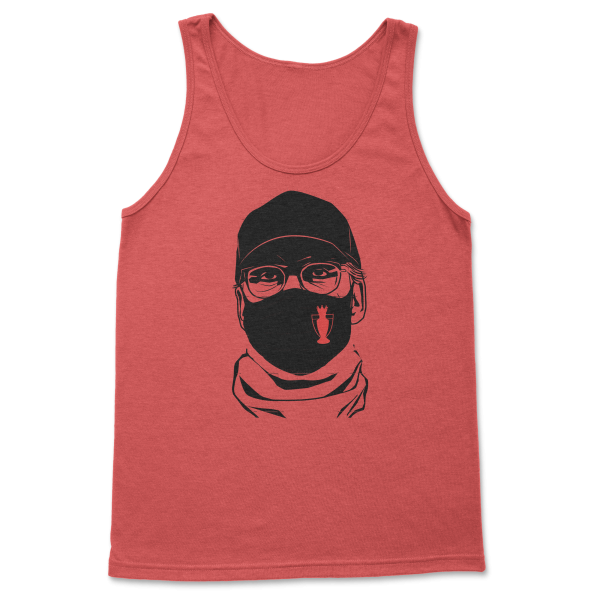 red tank top with Jürgen Klopp's face wearing a mask, Liverpool F.C. football coach - Diehard Custom Store