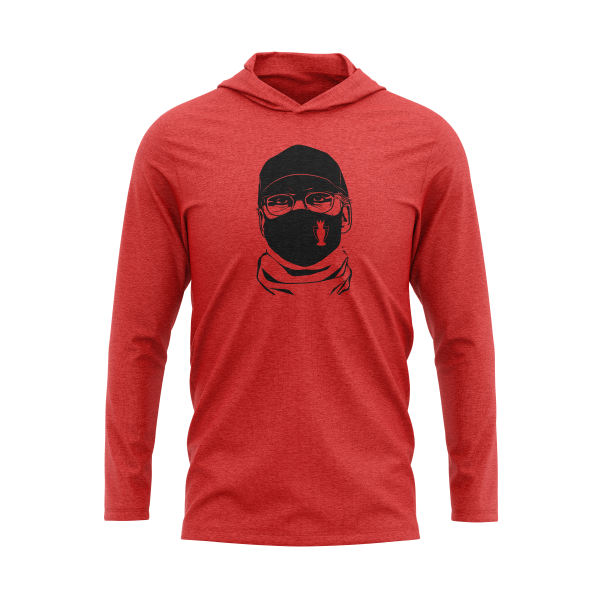 red long sleeve t-shirt hoodie with Jürgen Klopp's face wearing a mask, Liverpool F.C. football coach - Diehard Custom Store