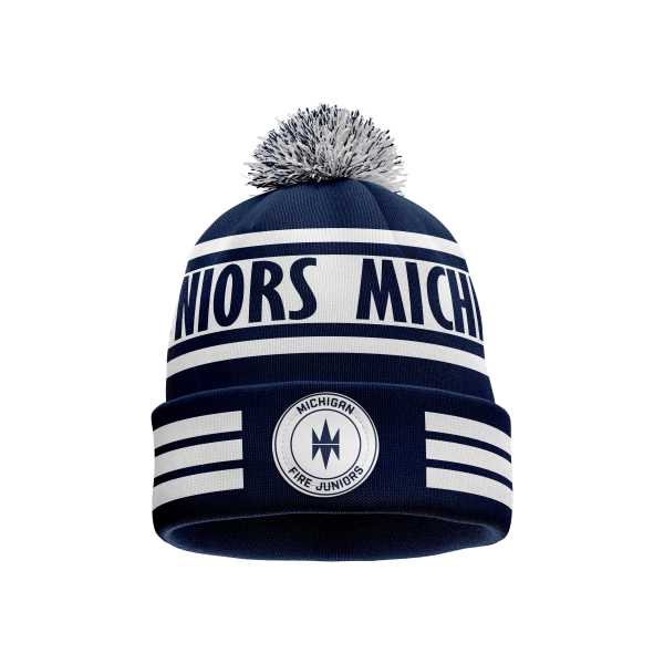blue and white Michigan Fire Juniors pom beanie - Diehard Custom Fundraising store - Official Youth Affiliate of Chicago Fire FC.