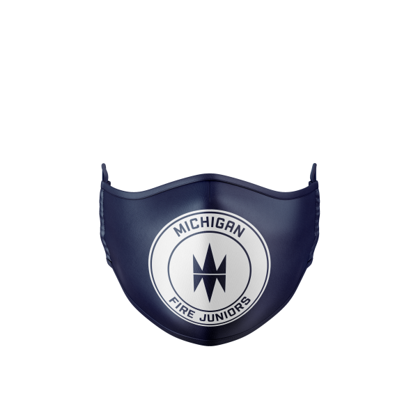 blue and white Michigan Fire Juniors protective branded face mask - Diehard Custom Fundraising store - Official Youth Affiliate of Chicago Fire FC.