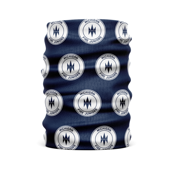 blue and white Michigan Fire Juniors protective face gaiter or mask - Diehard Custom Fundraising store - Official Youth Affiliate of Chicago Fire FC.