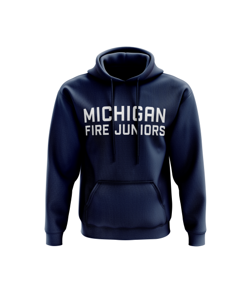 blue and white Michigan Fire Juniors hooded men's sweatshirt - Diehard Custom Fundraising store - Official Youth Affiliate of Chicago Fire FC.