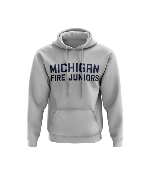Michigan Fire Juniors grey hoodie sweatshirt with blue lettering- Diehard Custom Fundraising store - Official Youth Affiliate of Chicago Fire FC. - Diehard Custom Fundraising