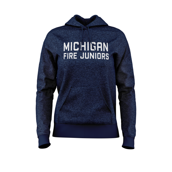 blue and white Michigan Fire Juniors women's hooded sweatshirt - Diehard Custom Fundraising store - Official Youth Affiliate of Chicago Fire FC.