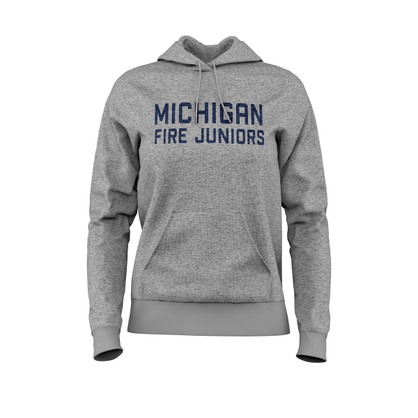 Michigan Fire Juniors grey women's fit pull over hoodie with blue lettering- Diehard Custom Fundraising store - Official Youth Affiliate of Chicago Fire FC. - Diehard Custom Fundraising