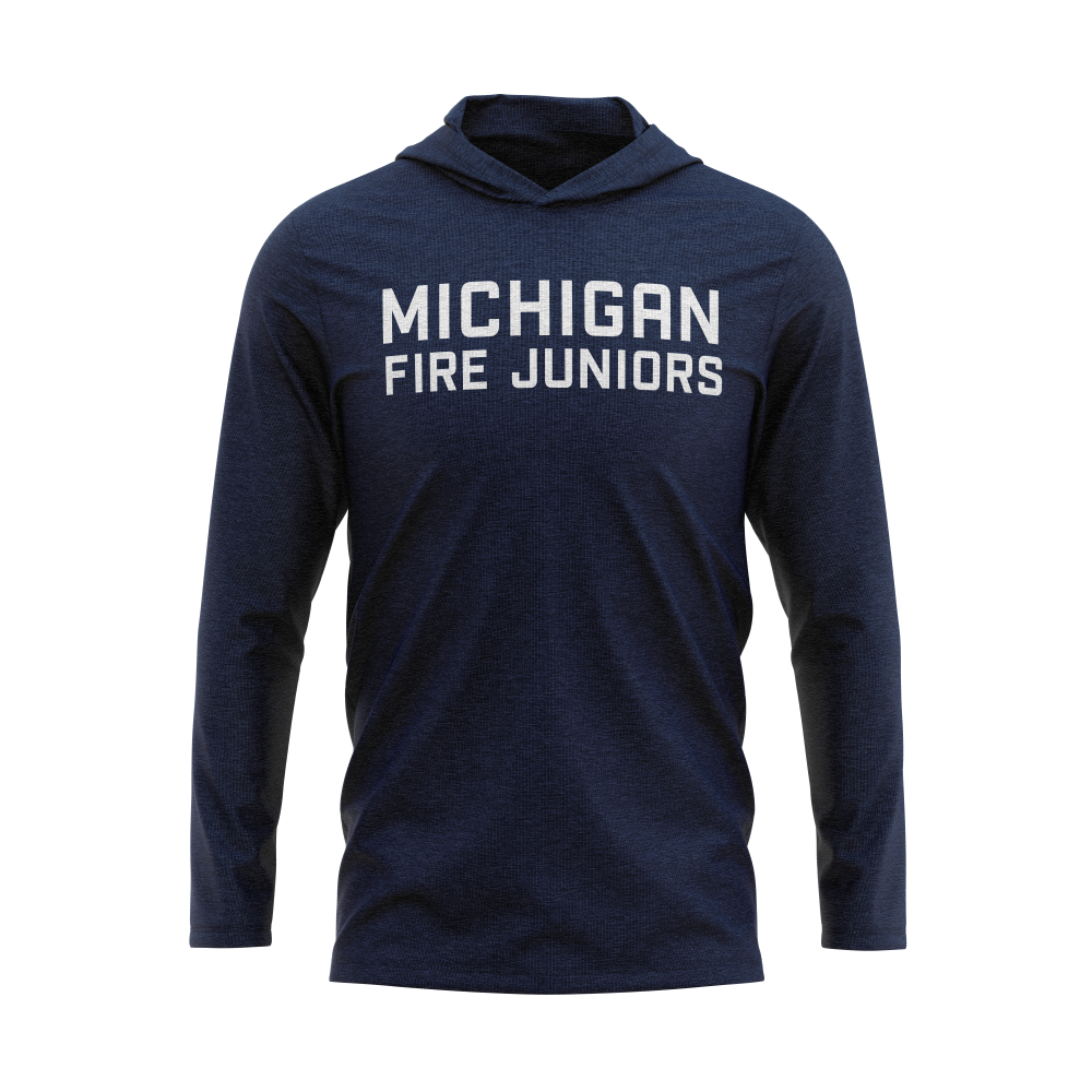 Blue and white Michigan Fire Juniors long sleeve lightweight tri-blend hoodie - Diehard Custom Fundraising store - Official Youth Affiliate of Chicago Fire FC.