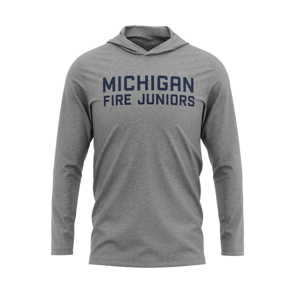 Michigan Fire Juniors grey long sleeve lightweight tri-blend hoodie with blue lettering- Diehard Custom Fundraising store - Official Youth Affiliate of Chicago Fire FC. - Diehard Custom Fundraising