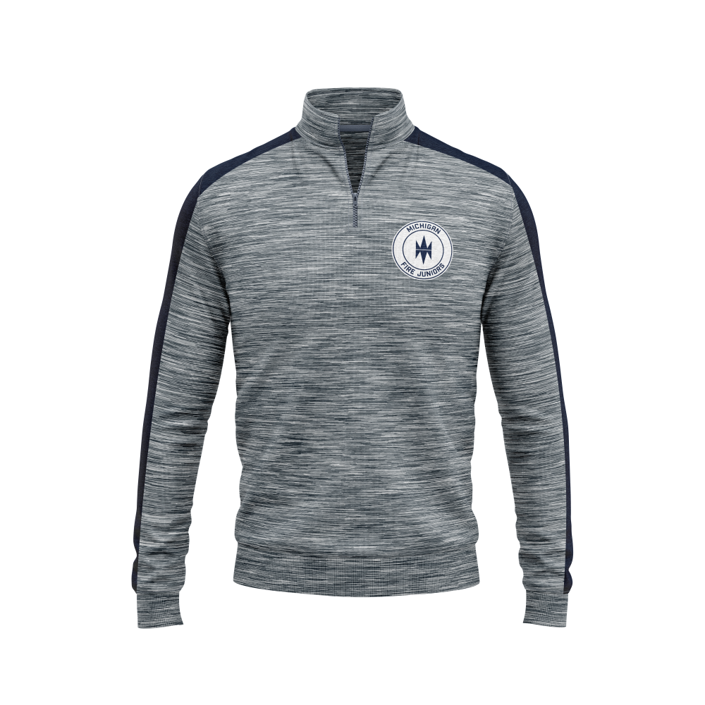 blue and white Michigan Fire Juniors quarter zip pullover hoodie unisex and youth - Diehard Custom Fundraising store - Official Youth Affiliate of Chicago Fire FC. - Diehard Custom Fundraising