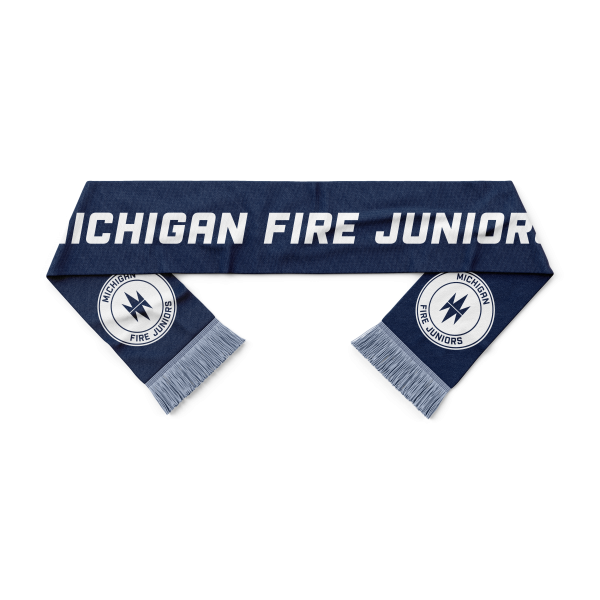 blue and white Michigan Fire Juniors soccer scarf - Diehard Custom Fundraising store - Official Youth Affiliate of Chicago Fire FC.