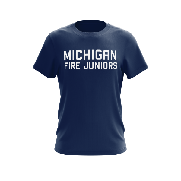 blue and white Michigan Fire Juniors short sleeve performance shirt - Diehard Custom Fundraising store - Official Youth Affiliate of Chicago Fire FC.