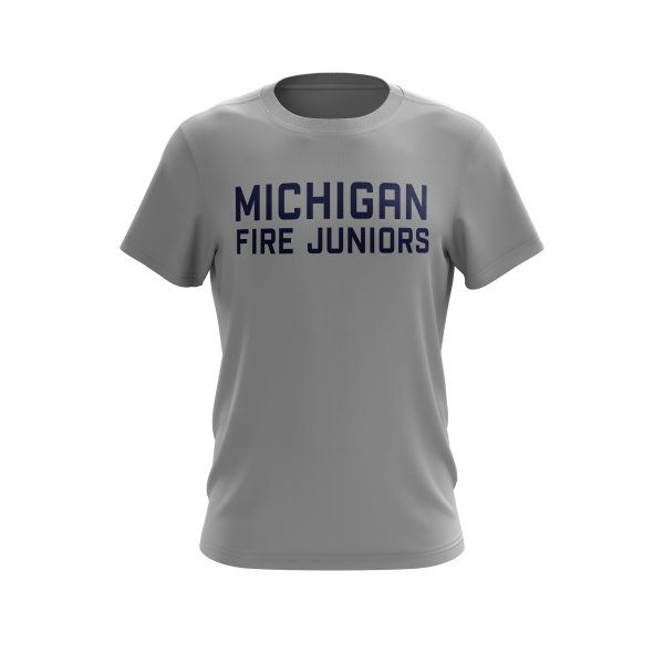 Michigan Fire Juniors grey short sleeve performance shirt with blue lettering- Diehard Custom Fundraising store - Official Youth Affiliate of Chicago Fire FC. - Diehard Custom Fundraising