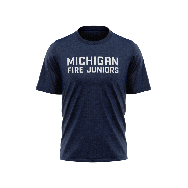 blue and grey Michigan Fire Juniors t-shirt - Diehard Custom Fundraising store - Official Youth Affiliate of Chicago Fire FC.