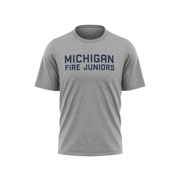 Michigan Fire Juniors grey short sleeve tri-blend shirt with blue lettering- Diehard Custom Fundraising store - Official Youth Affiliate of Chicago Fire FC.