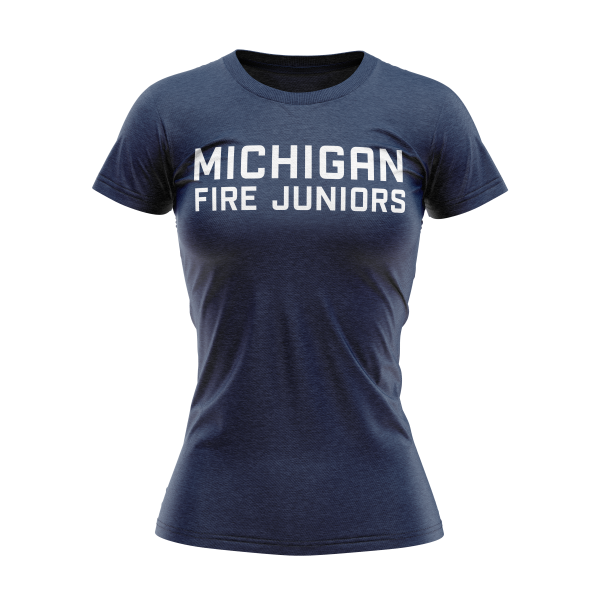 blue and white Michigan Fire Juniors women's short sleeve t-shirt - Diehard Custom Fundraising store - Official Youth Affiliate of Chicago Fire FC. - Diehard Custom Fundraising