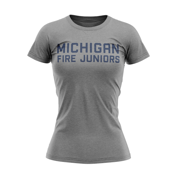 Michigan Fire Juniors grey women's short sleeve tri-blend shirt with blue lettering- Diehard Custom Fundraising store - Official Youth Affiliate of Chicago Fire FC. - Diehard Custom Fundraising