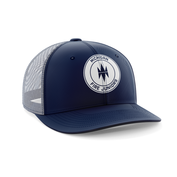 blue and white Michigan Fire Juniors fitted cap with logo - Diehard Custom Fundraising store - Official Youth Affiliate of Chicago Fire FC. - Diehard Custom Fundraising