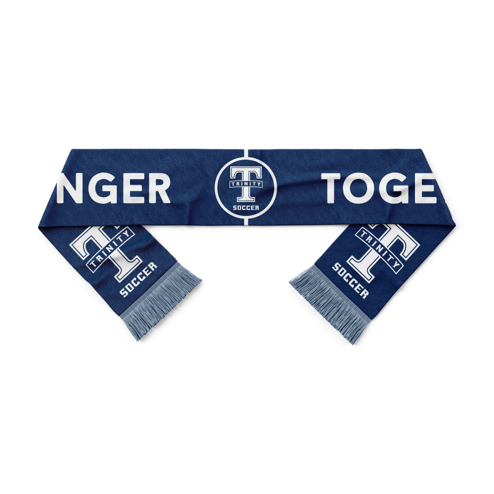 blue and white trinity soccer scarf - Diehard Custom Fundraising and Scarves