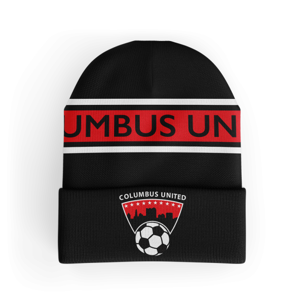 red, grey and black custom beanie with Columbus United printed across it with their soccer ball logo below it - Diehard Custom
